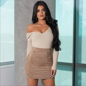 Tops - Soft Taupe Ribbed Knit Bodysuit